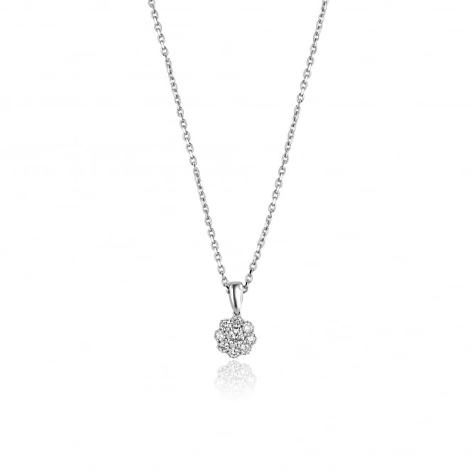 0.27ct Diamond Flower Cluster Pendant and Chain