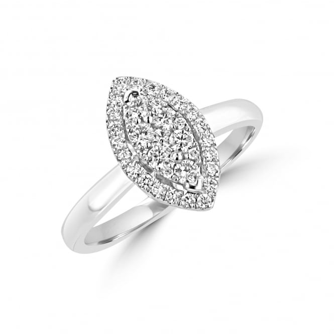 0.37ct Marquise Shape Diamond Ring with Round Brilliant Cut Diamonds