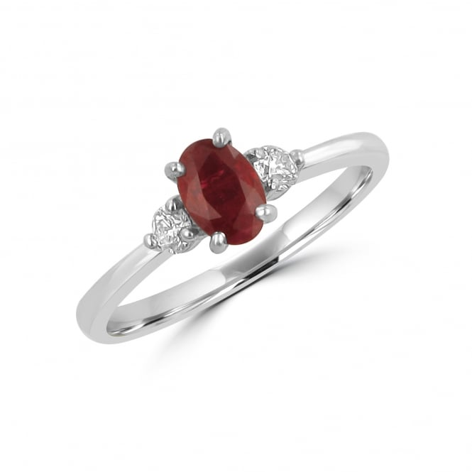 0.49ct Oval Ruby and Diamond Three Stone Ring