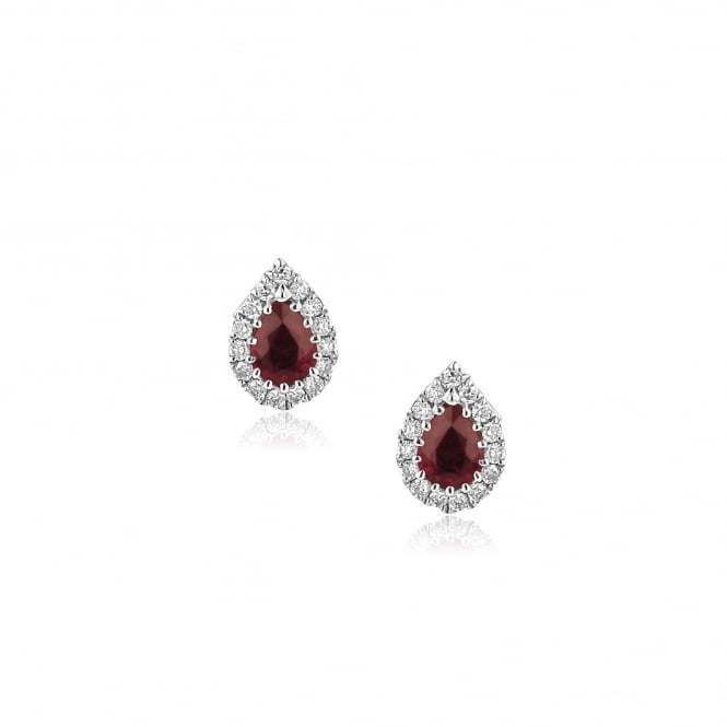0.50ct Pear Shape Ruby and Diamond Cluster Stud Earrings EWT36229