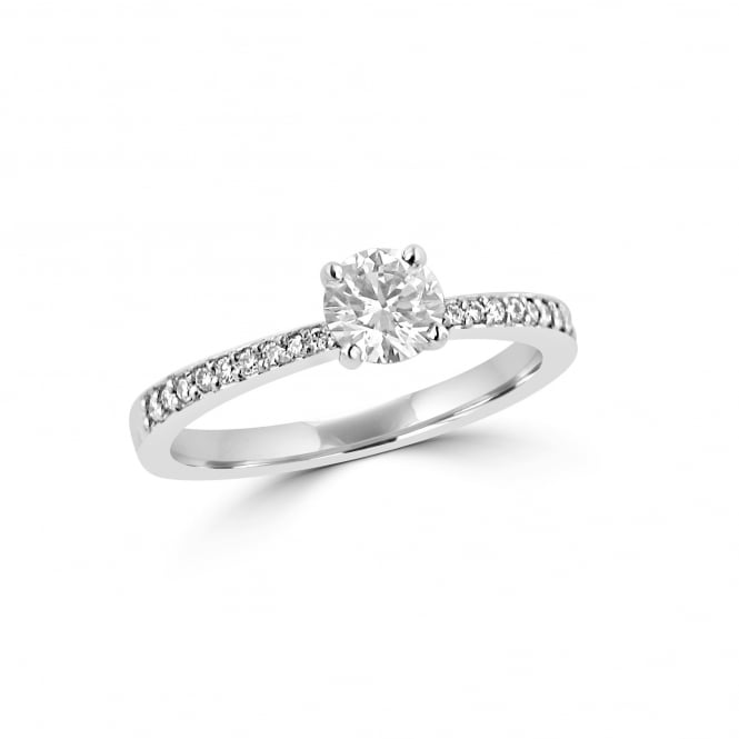 0.52ct Round Diamond Engagement Ring With Graduated Diamond Band