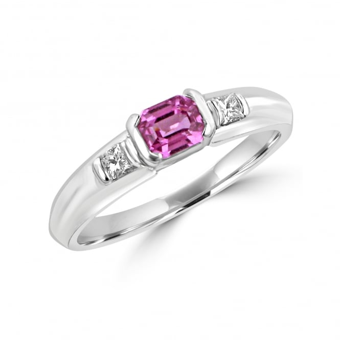 0.57ct Pink Sapphire and Diamond Three Stone Ring