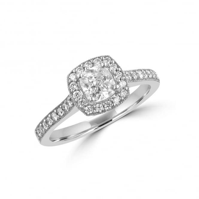 0.60ct Cushion Diamond Cluster Ring 0.91ct Total