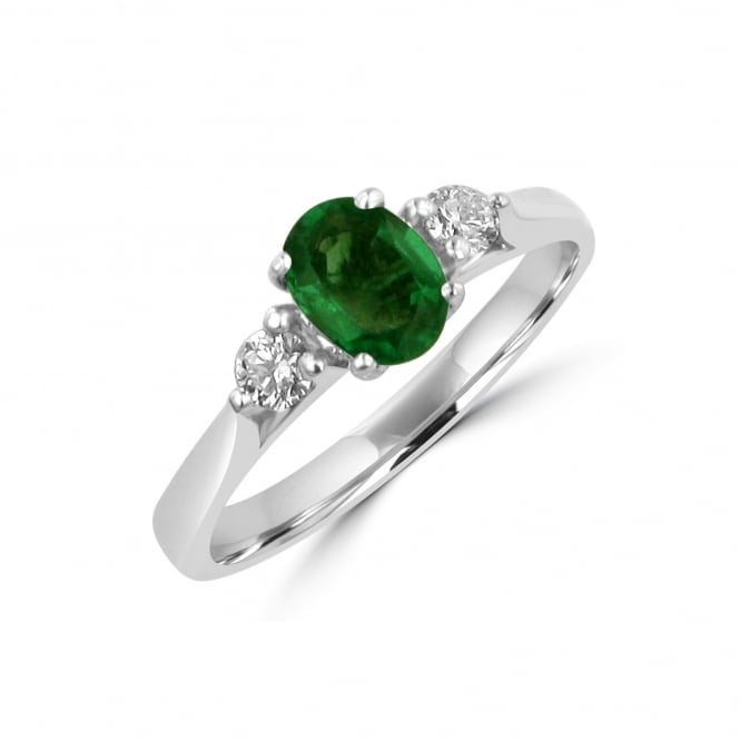 0.60ct Emerald and Diamond Three Stone Ring