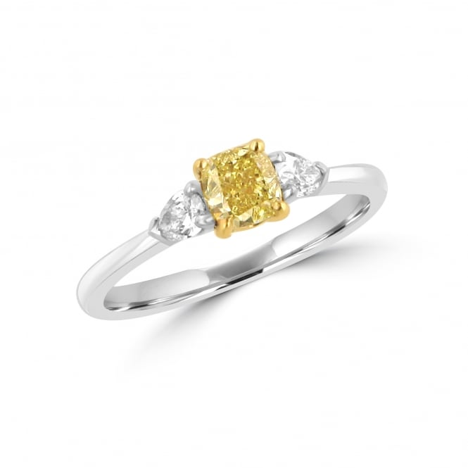 0.61ct Natural Yellow Diamond and White Diamond Three Stone Ring