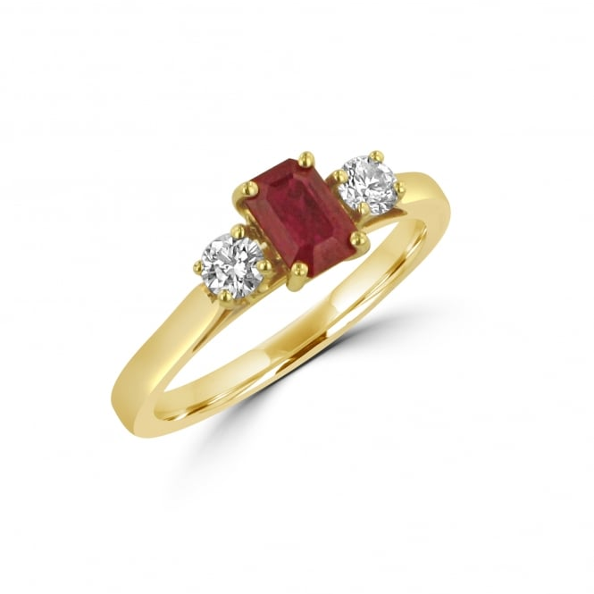 0.69ct Ruby and Diamond Threes Stone Ring