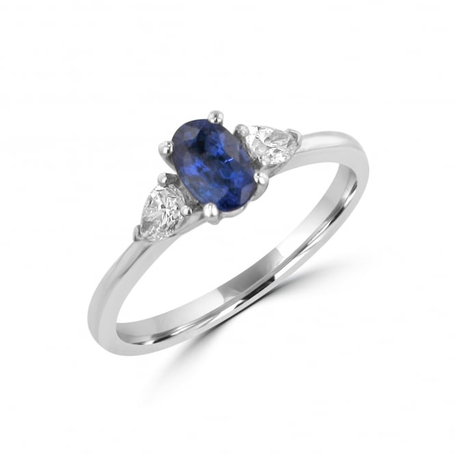 0.71ct Oval Sapphire and Diamond three Stone Ring