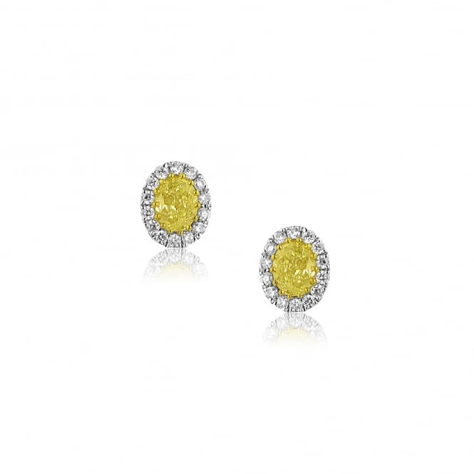 0.76ct Yellow Diamond Cluster Stud Earrings in 18ct White Gold EWT36230
