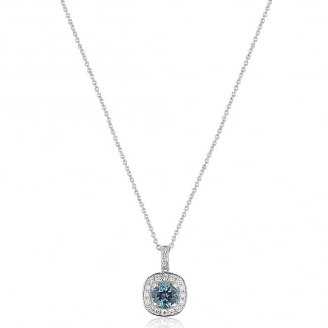 0.82ct Aquamarine and Diamond Cluster Pendant and Chain