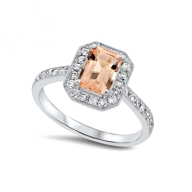 0.82ct Morganite and Diamond Cluster Ring