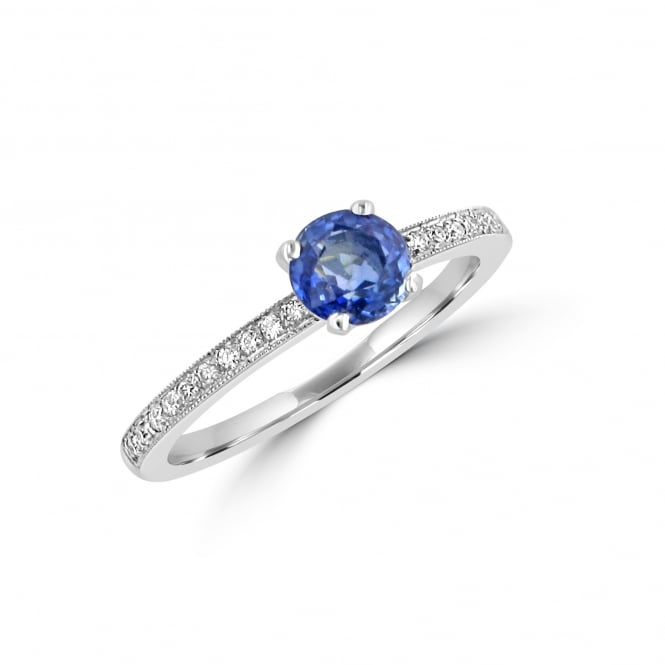 0.91ct Round Sapphire and Diamond Ring RPN24558