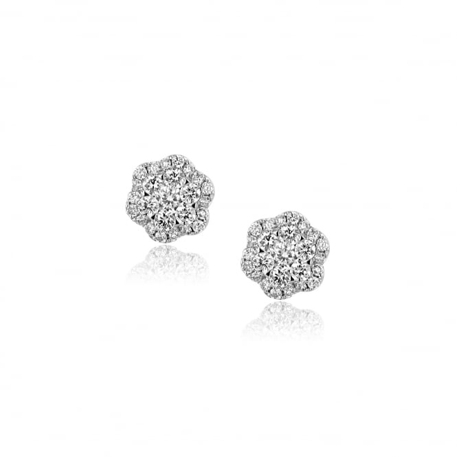 0.94ct Diamond Flower Cluster Earrings in 18ct White Gold