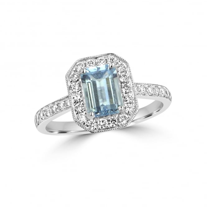 1.00ct Aquamarine and Diamond Deco Inspired Cluster Ring