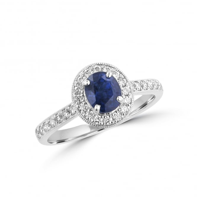 1.00ct Sapphire and Diamond Cluster Ring