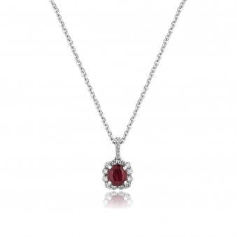 1.02ct Ruby and Diamond Cluster Necklace