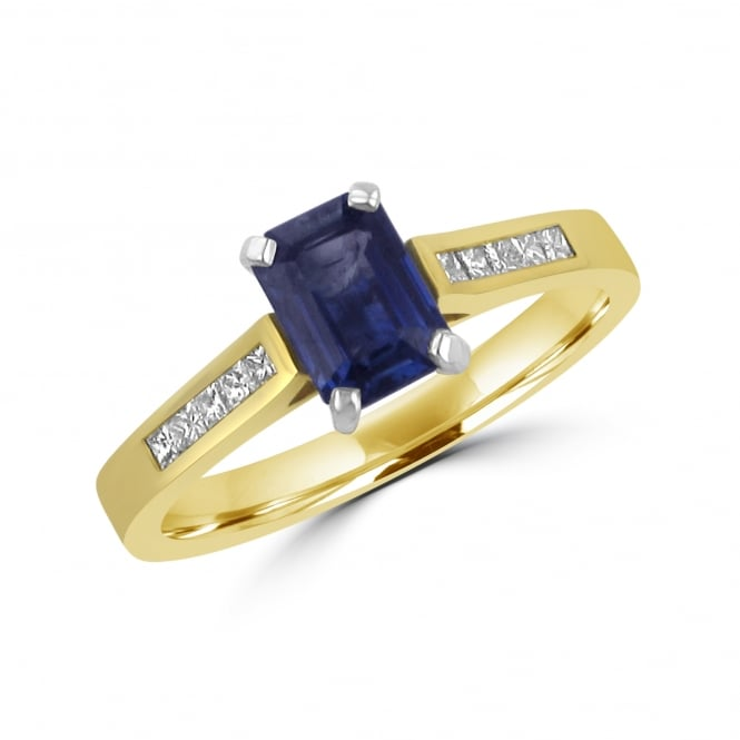 1.06ct Octagonal Sapphire and Diamond Ring