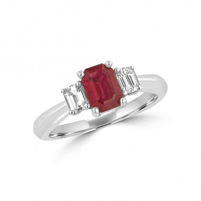 1.08ct Ruby and Diamond Three Stone Ring