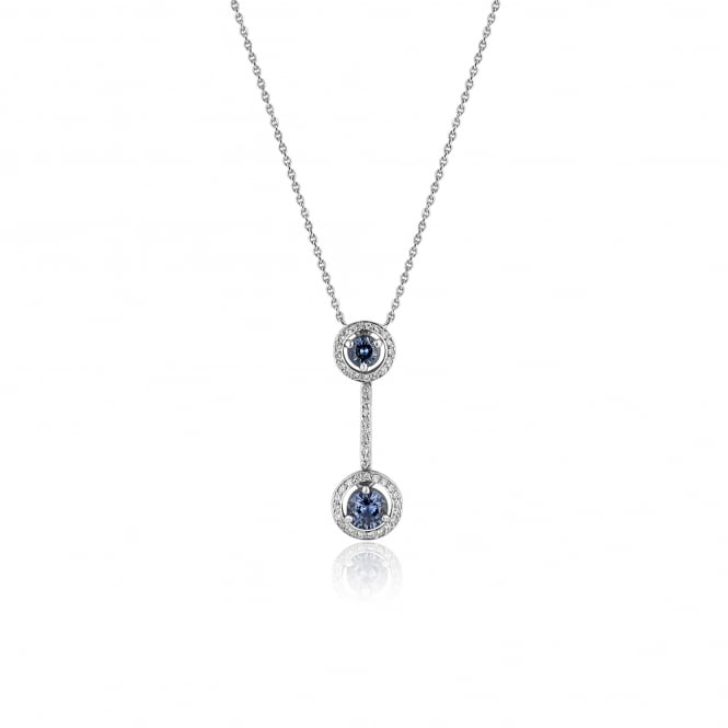 1.19ct Sapphire and Diamond Deco Necklace in 18ct White Gold DW2673