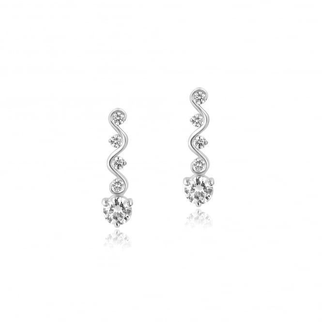 1.22ct Wave Round Diamond Earrings in 18ct White Gold