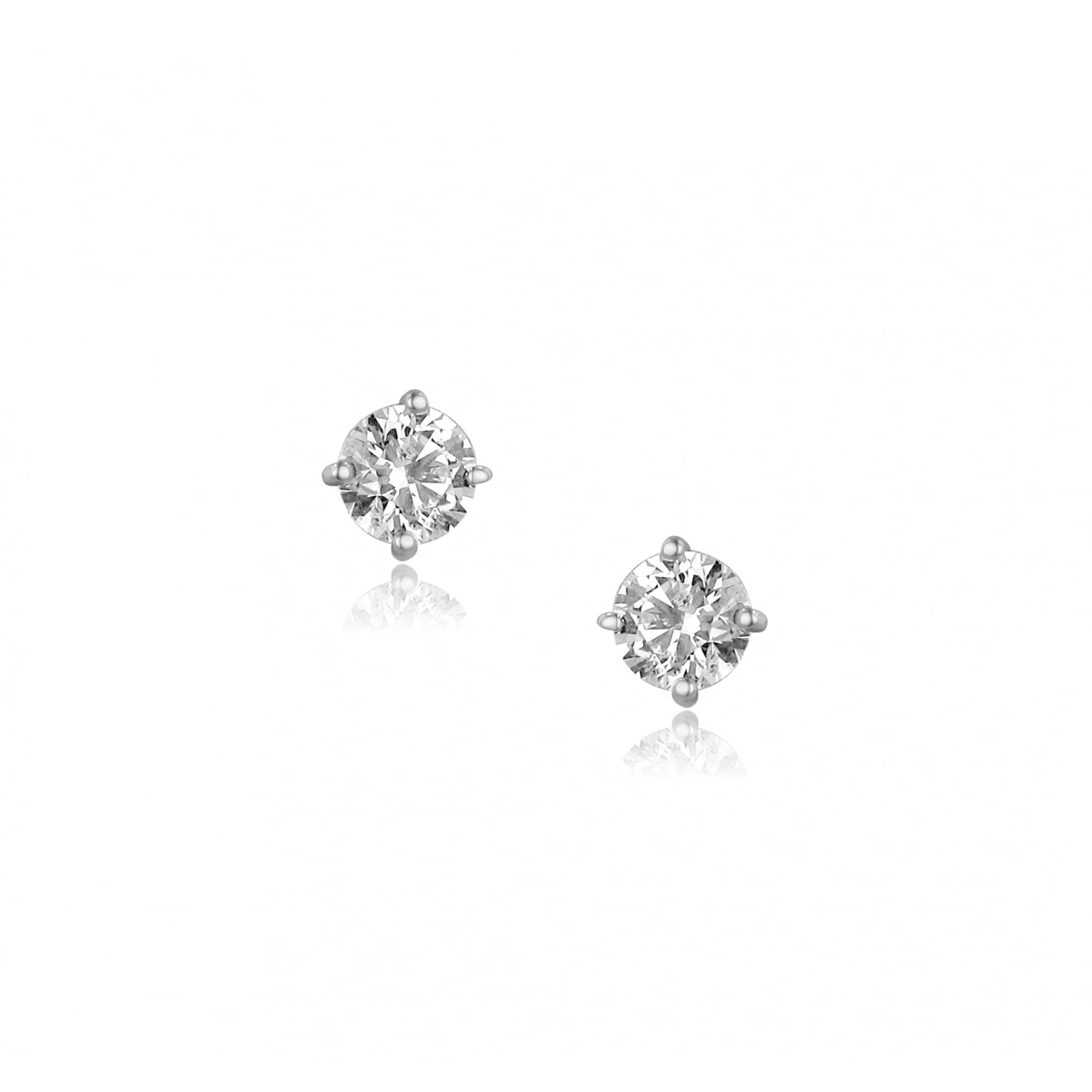 1 25ct Diamond Stud Earrings In 18ct White Gold Womens From Avanti