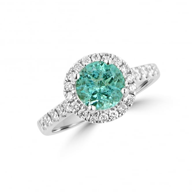 1.39ct Blue Paraiba Tourmaline and Diamond Cluster Ring