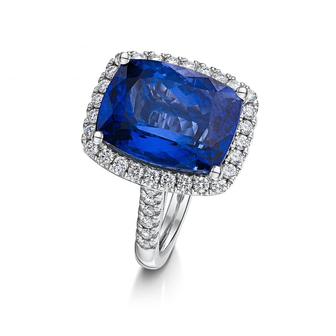 10.00ct Tanzanite and Diamond Platinum Cocktail Cluster ring RPD36436