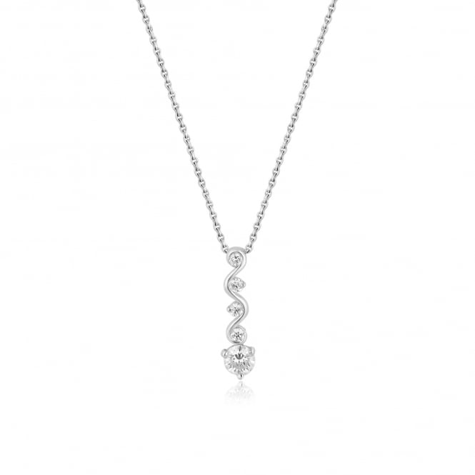 "16"" Round Diamond Wave Necklace in 18ct White Gold"