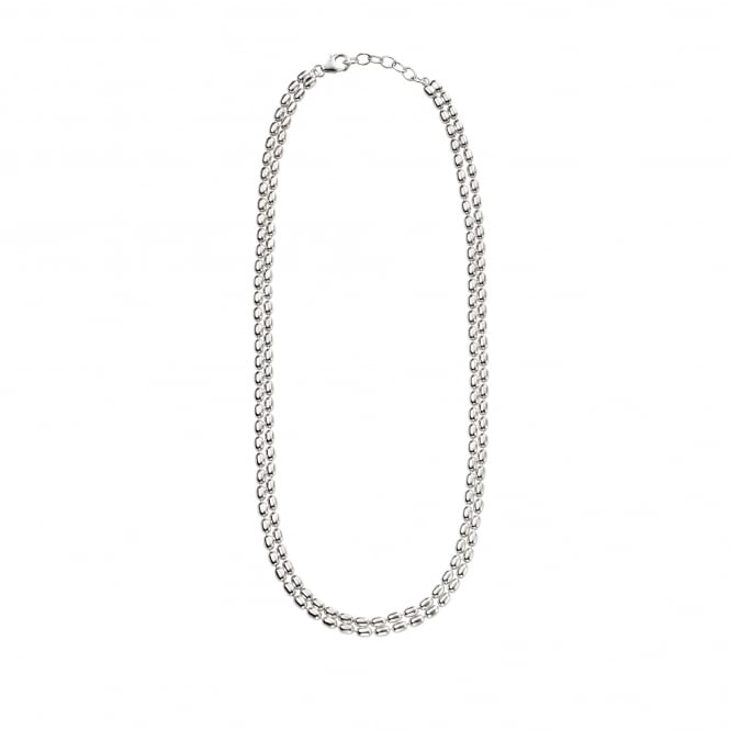 "16"" Silver Double Row Bead Necklace NLS367"