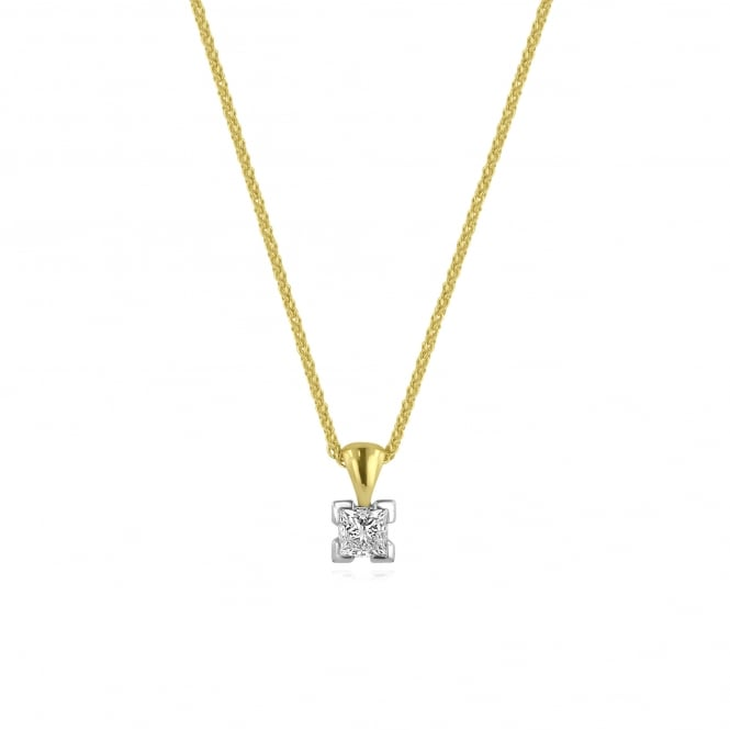 18 carat Gold Princess Cut Diamond Necklace With GIA Diamond Certificate PM2694 + CY2795