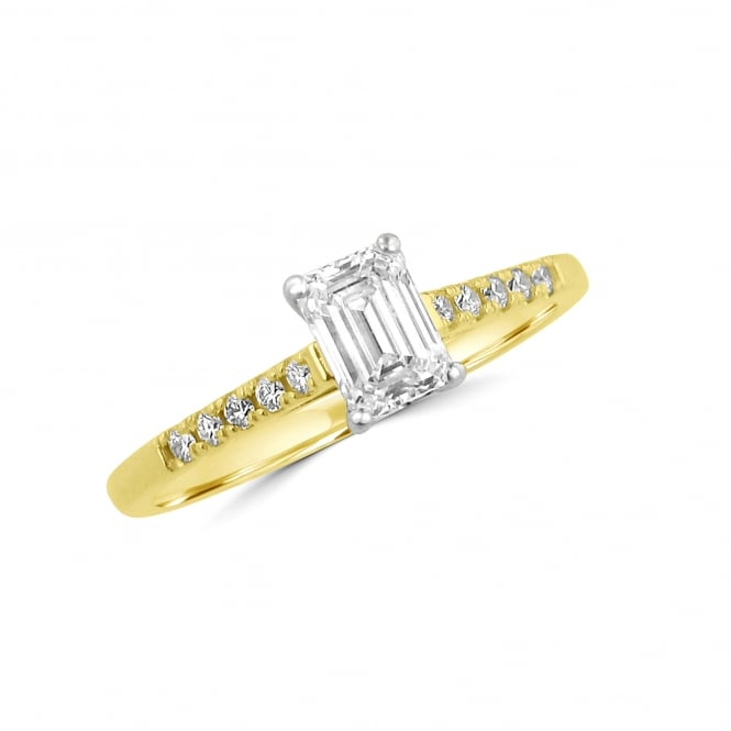 18ct Gold 0.57ct Emerald Cut Diamond Engagement Ring with Diamond Sides RKN36442
