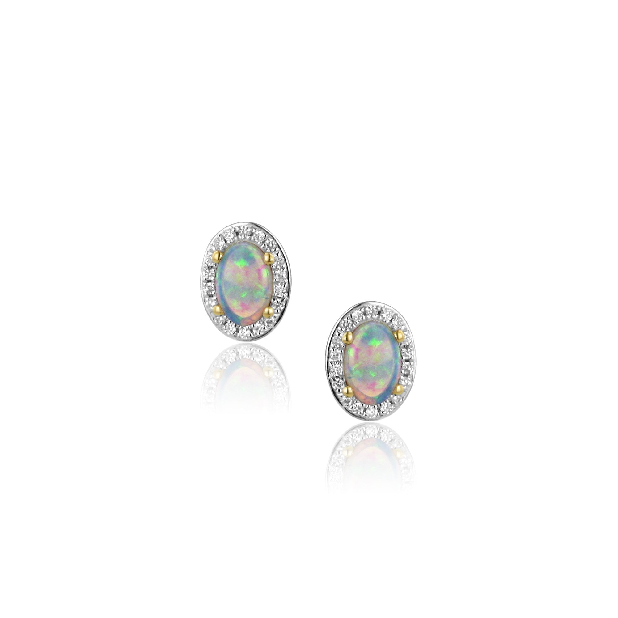 870ced951 18ct Gold Oval Opal and Diamond Cluster Stud Earrings - Womens from Avanti  of Ashbourne Ltd UK
