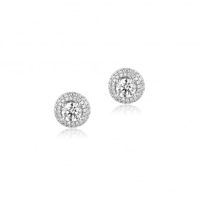 18ct Gold Round Diamond Cluster Earrings 0.88ct Total