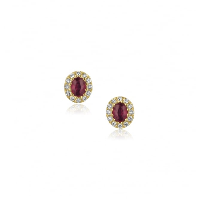 18ct Gold Ruby and Diamond Cluster Earrings