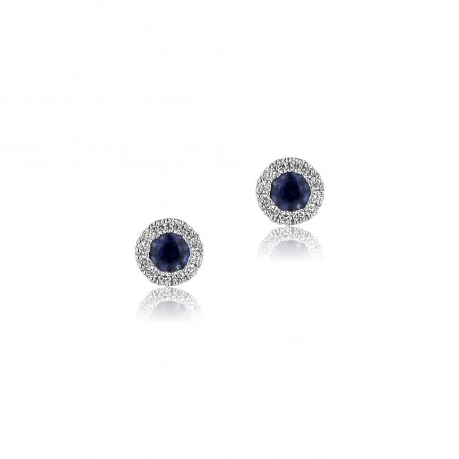 18ct Gold Sapphire and Diamond Cluster Earrings