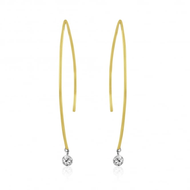 18ct Gold Wire earrings With Diamonds 0.26ct