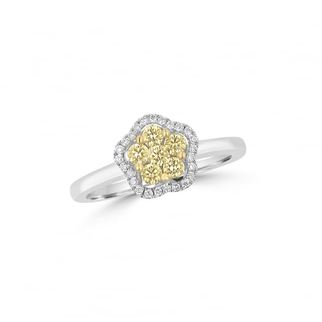 18ct Gold Yellow and White Diamond Flower Halo Ring