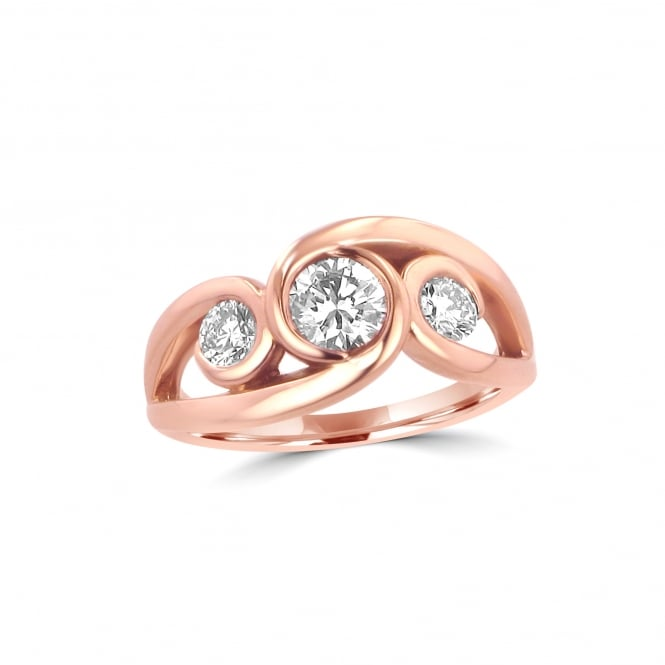 18ct Rose Gold and Diamond Ring With Three Stones