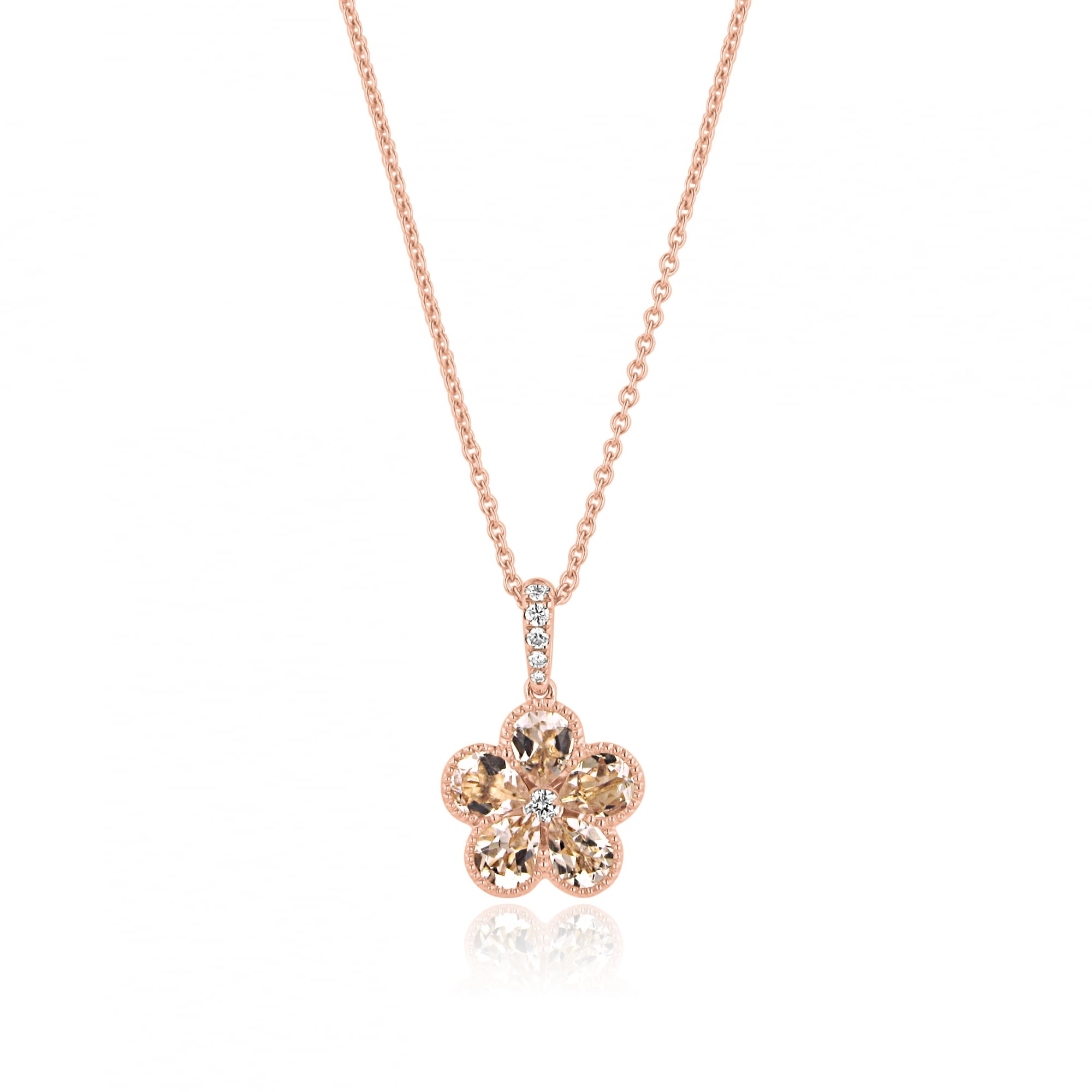diamond white rose morganite accents beautiful pendant k gold featuring mg with