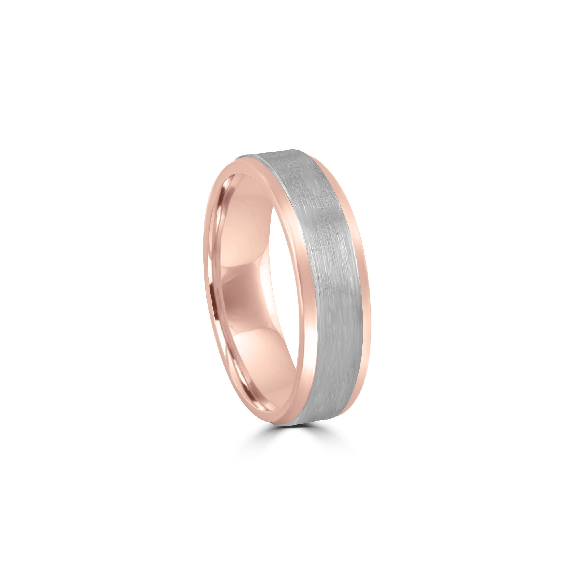 Platinum Wedding Rings.18ct Rose Gold And Platinum 6mm Wedding Ring