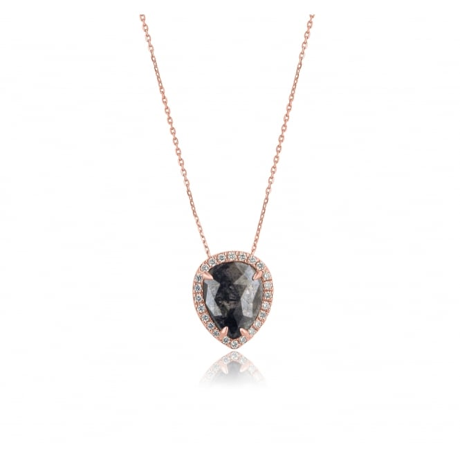 18ct Rose Gold Halo Necklace with Two Carat Black Diamond