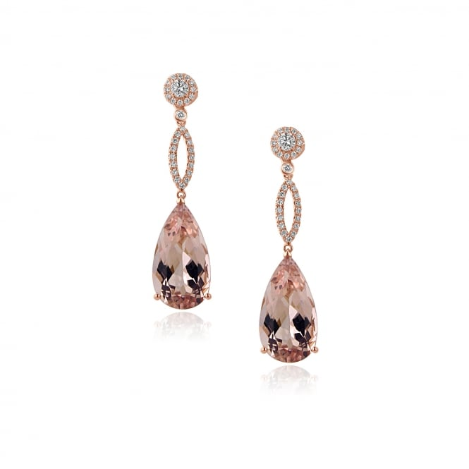 18ct Rose Gold Morganite and Diamond Earrings