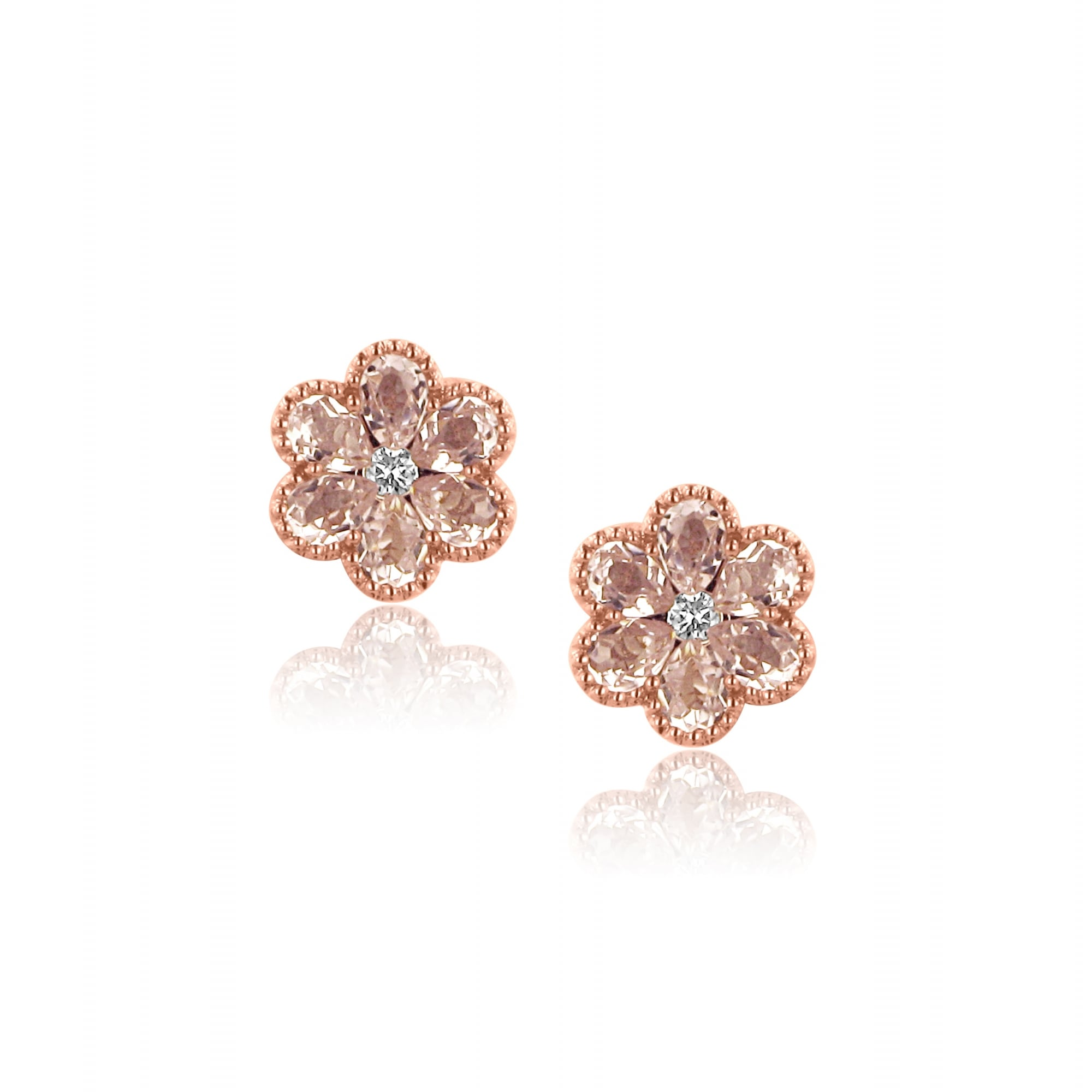 910a348d4bb 18ct Rose Gold Morganite Flower Earrings - Womens from Avanti of Ashbourne  Ltd UK