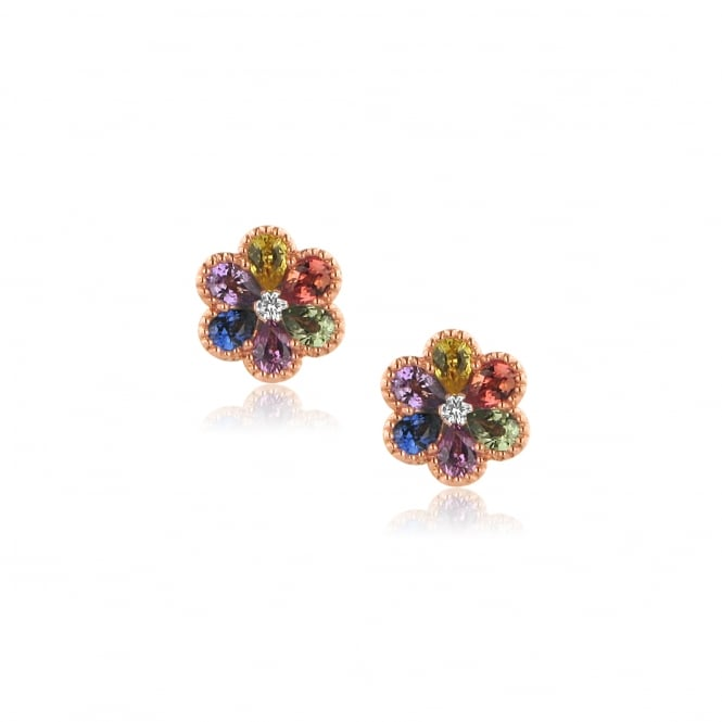 18ct Rose Gold Mulitcoloured Sapphire Flower Earrings