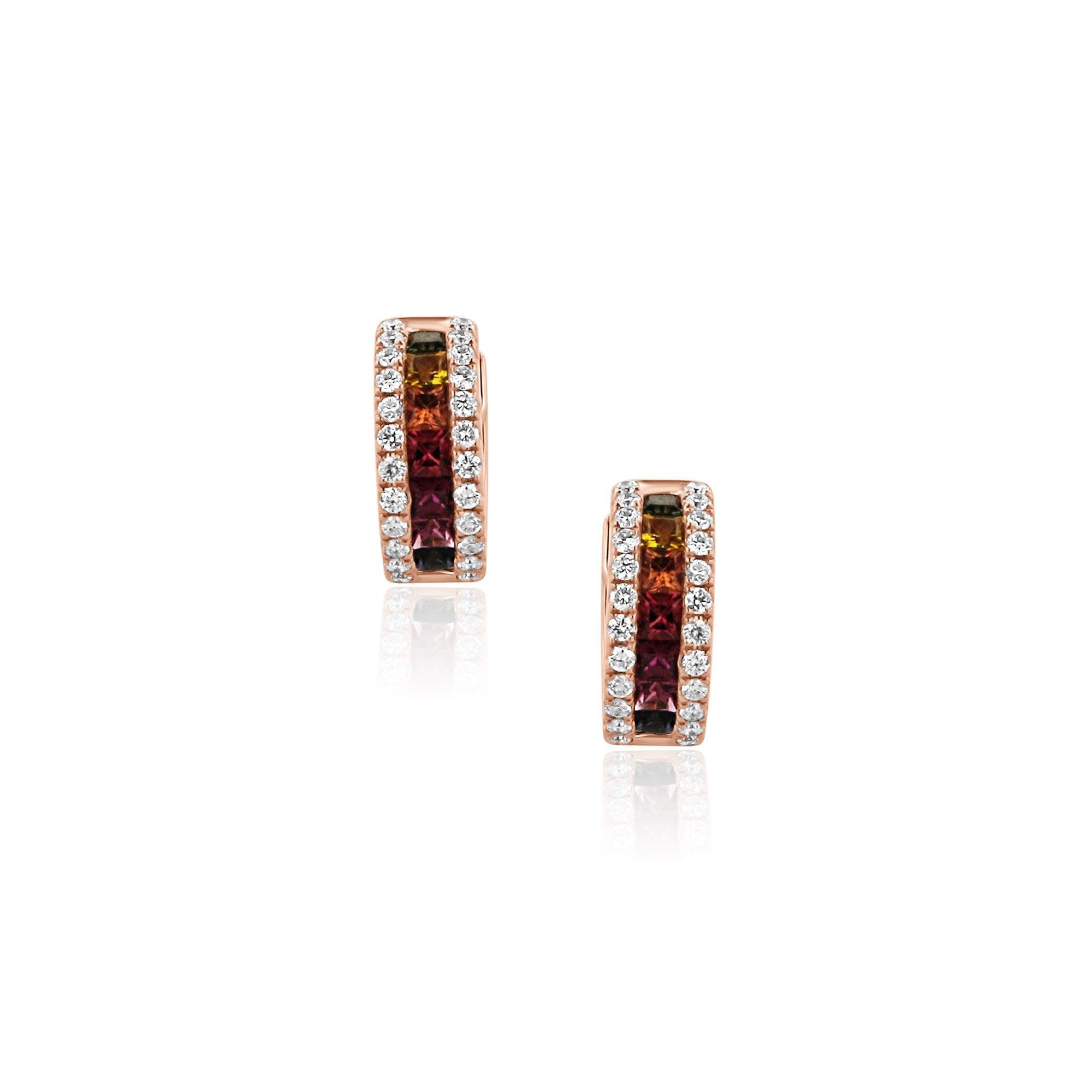 ae724f941 18ct Rose Gold Rainbow Sapphire and Diamond Huggie Hoop Earrings - Womens  from Avanti of Ashbourne Ltd UK