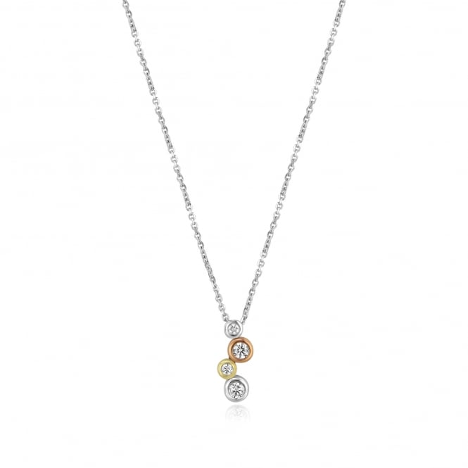 18ct Three Colour Gold Diamond Necklace
