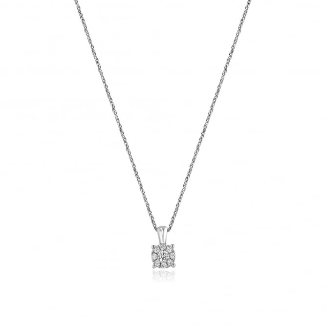 18ct White Gold 0.12ct Diamond Cluster Pendant and Chain