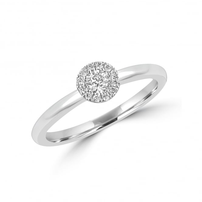18ct White Gold 0.15ct Round Diamond Halo Cluster Ring