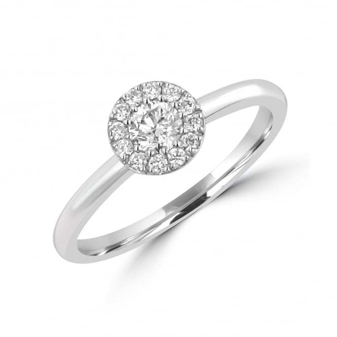 18ct White Gold 0.25ct Round Diamond Halo Cluster Ring RWD35167