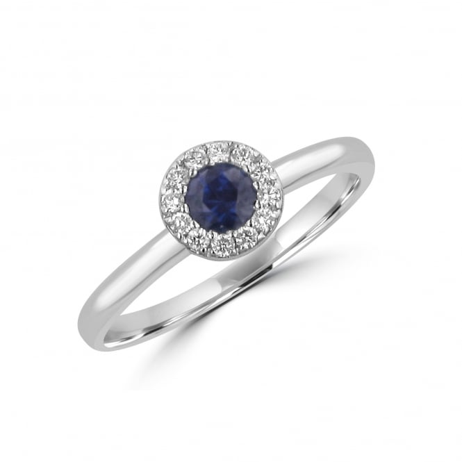 18ct White Gold 0.31ct Sapphire and Diamond Halo Ring
