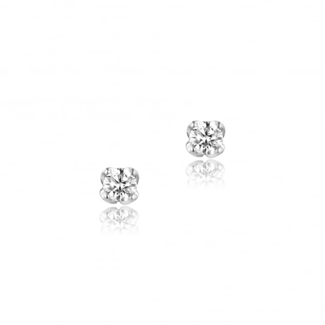 18ct White Gold 0.35ct Single Diamond Stud Earrings